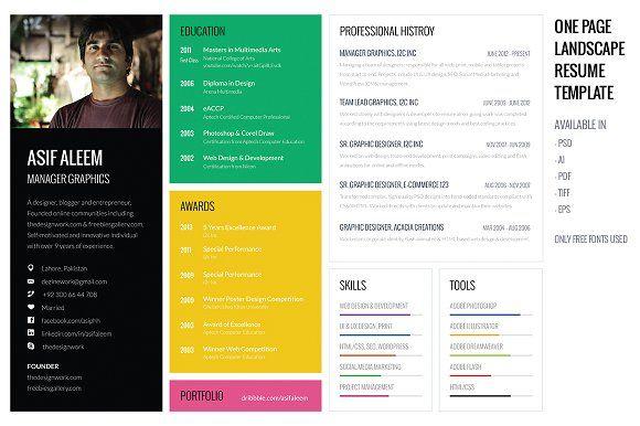 Landscape Resume \/ CV Template by ProSymbols on @creativemarket - landscape resume
