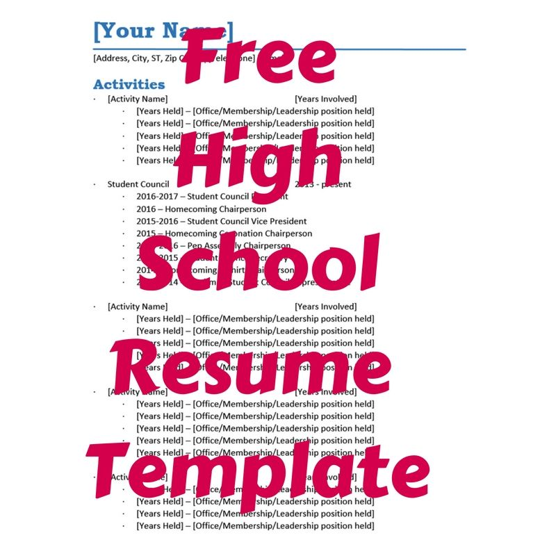 Free High School Resume Template to track all the great things you - free student resume templates