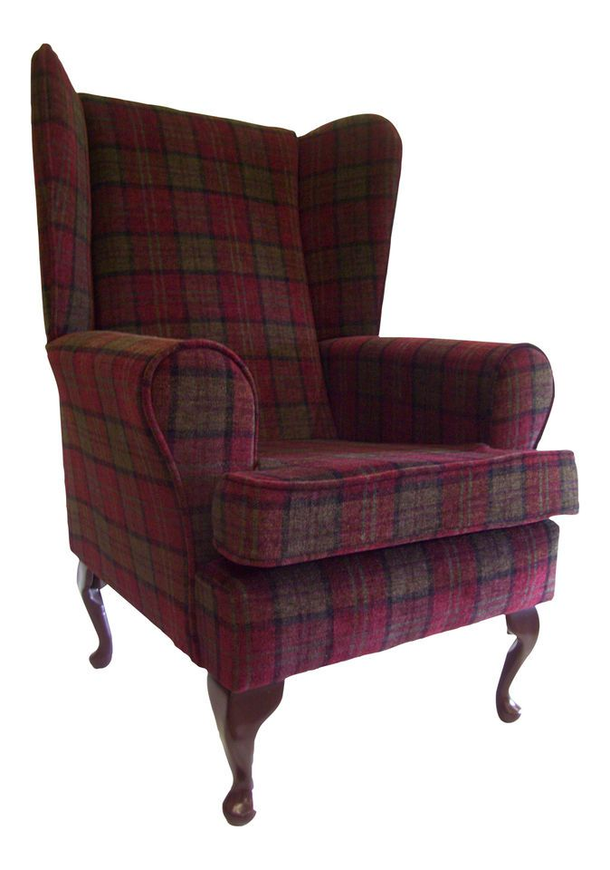 Wing Back Queen Anne Chair Burgundy Tartan Fabric