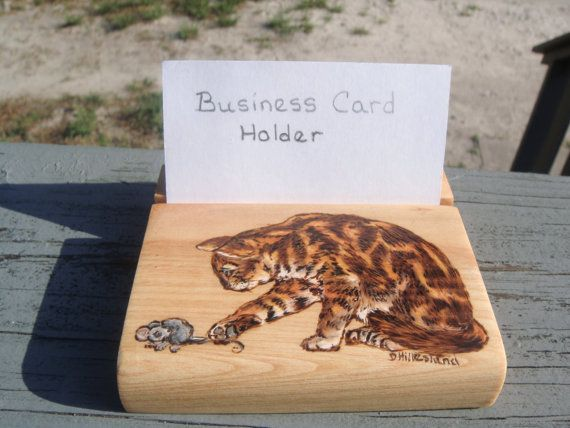 Handmade wood burned cypress business card holder cat and mouse cat handmade wood burned cypress business card reheart Images