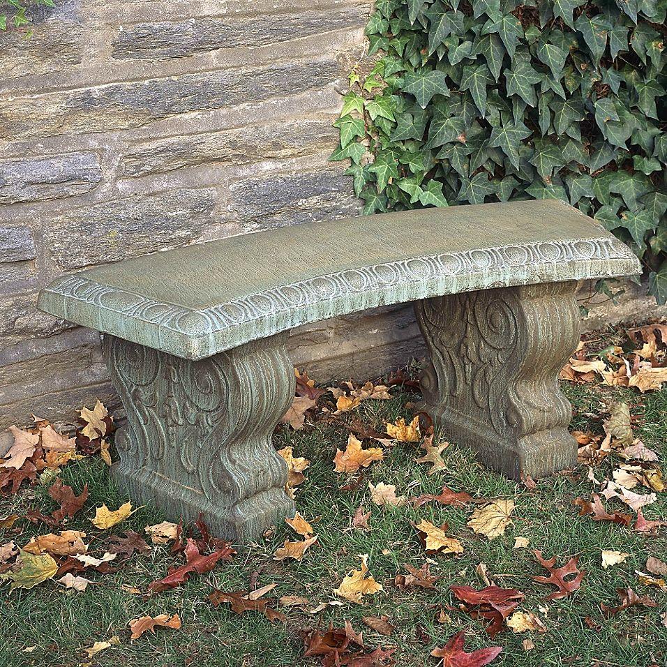 Compania Traditional Curved Garden Bench Copper Stone Garden