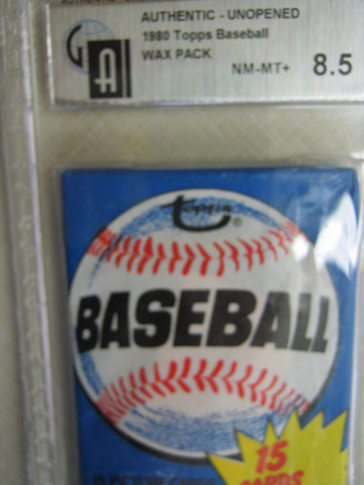 1980 Topps Baseball Cards Unopened Wax Pack GAI 8.5 NM-MT+ Rickey Henderson (R)?