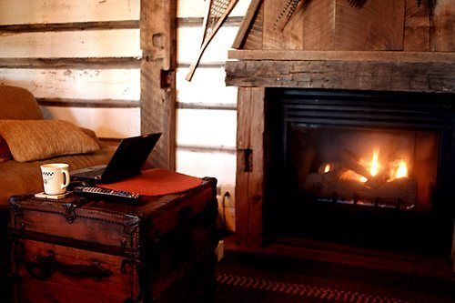 alleyesandears:  Dancing Fox Cabin - Coffee by the Fire Watching Turner Classic Movies, enjoying the free wifi! © Dania Hurley, All Rights Reserved