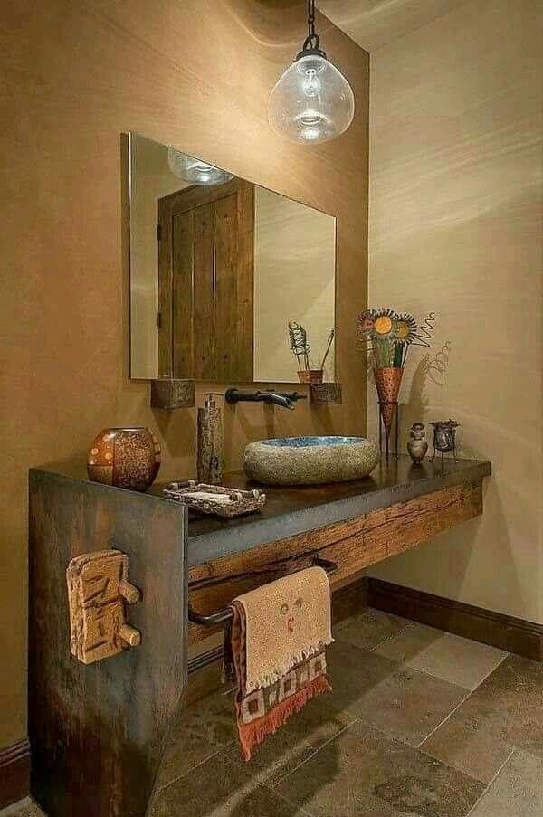 Rustic Bathroom Idea Badezimmer Rustikal Rustikale Bader Badezimmer
