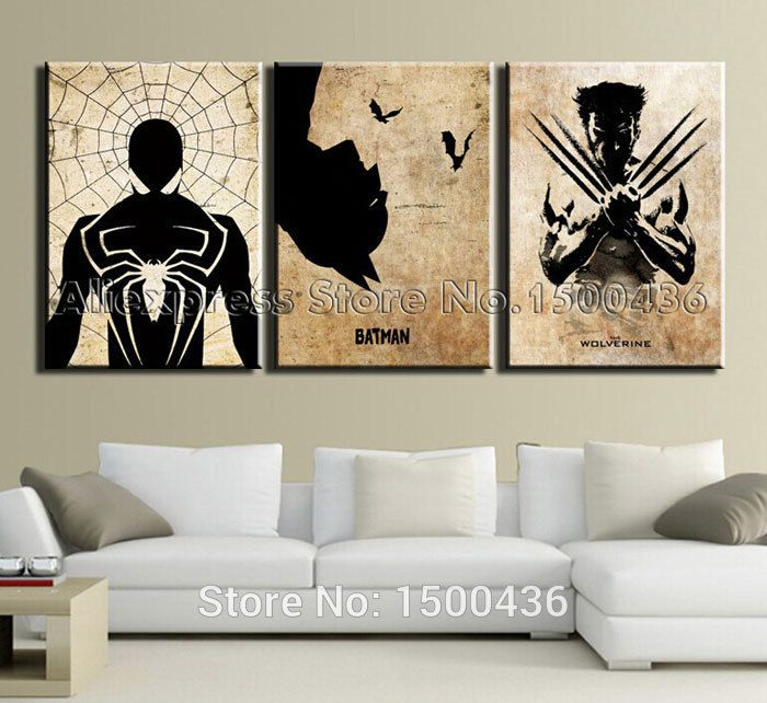Comic Book Hero Spider Man,Batman,Wolverine Movie Poster For Wall Art  Abstract Oil Painting 3pc Modern Canvas Decor Picture Sets(China (Mainland))