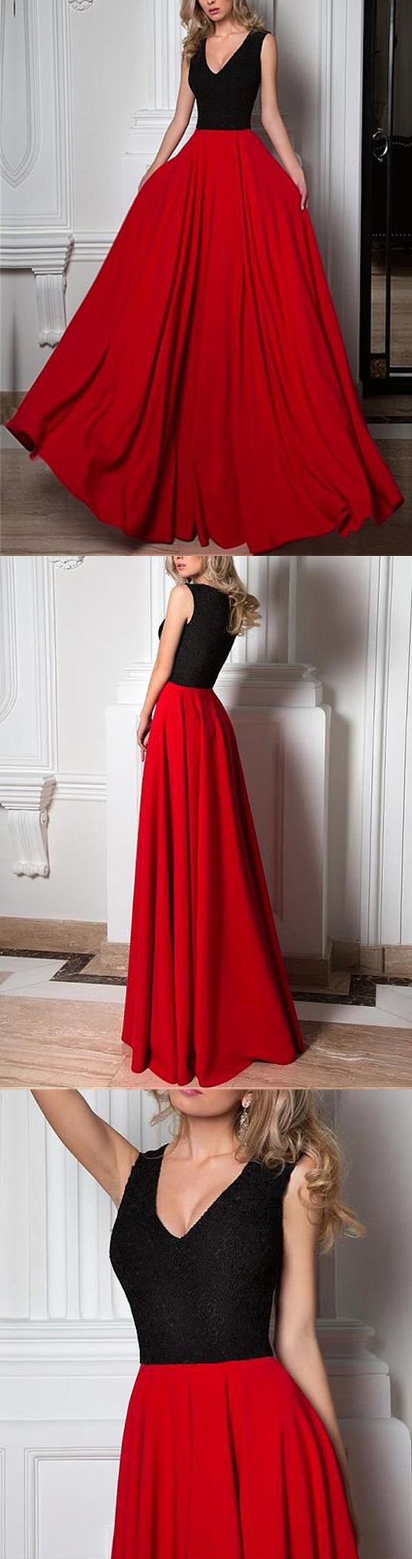 Simple long aline black lace top red chiffon sleeveless charming