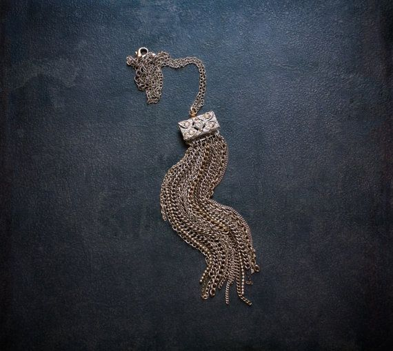 Vintage Silver Chain Waterfall Tassel Necklace with by BevaStyles