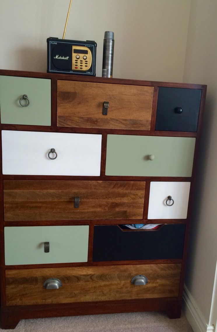 Gorgeous green black and white wooden chest of drawers from george