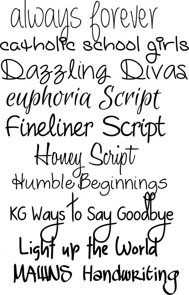 Ten Handwriting Fonts From KarenDiamondDesigns I Like Eyphoria Script Honey Humble Beginnings Light Up The World