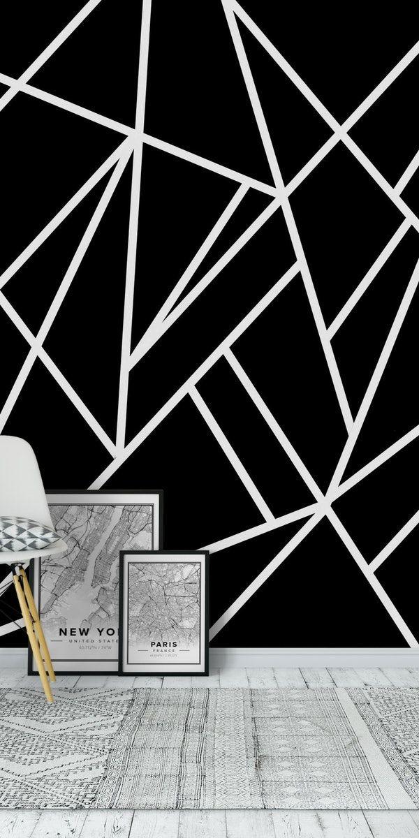 Classic Black White Geo 1 Wall Mural From Happywall Whitelines Black Ideias De Decoração De Parede Decoracao Com Fita Isolante Desenhos Para Parede De Quarto