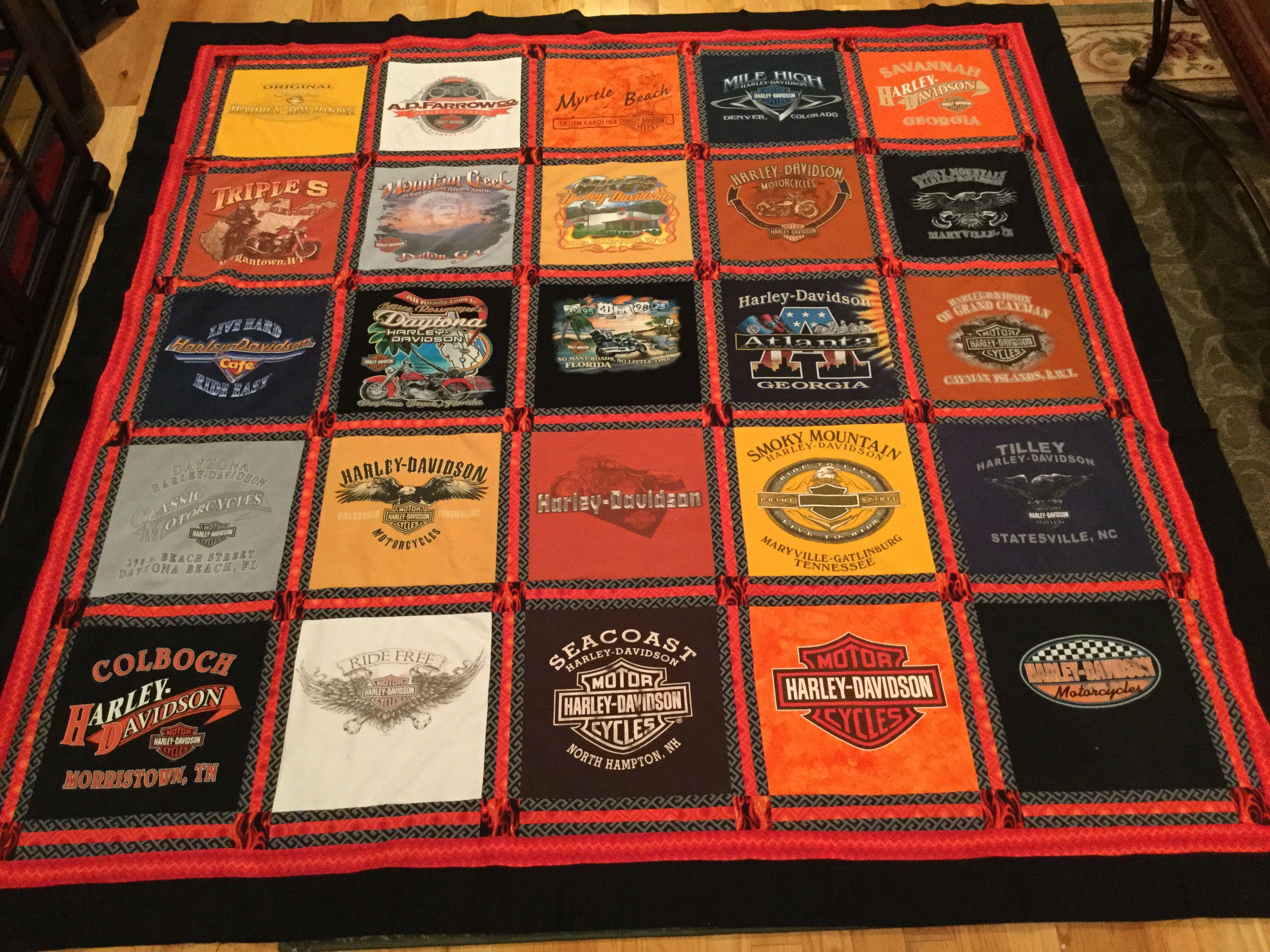 Harley Davidson T-shirt quilt. | Quilts I've made. | Pinterest ... : running t shirt quilt - Adamdwight.com