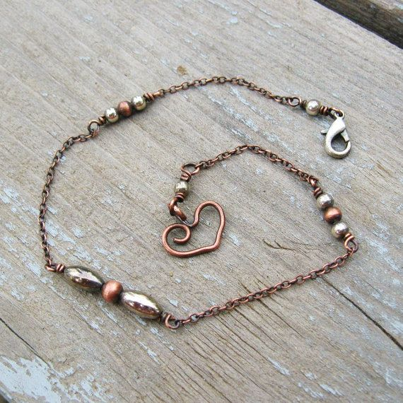 Antiqued Copper and Silver ankle bracelet with by BearRunOriginals, $16.00