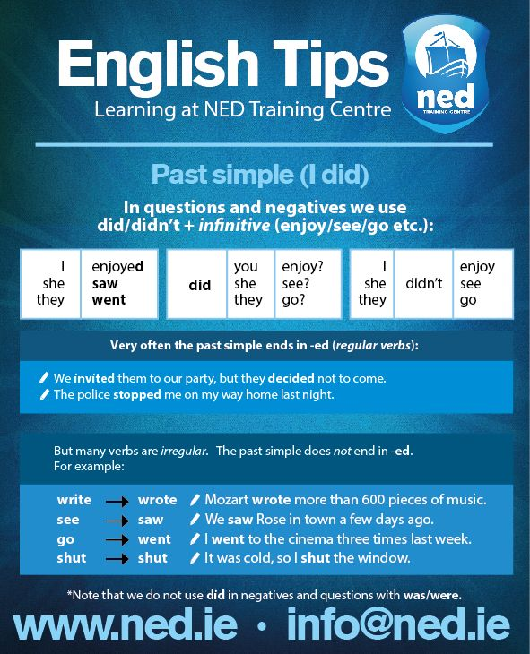 English Tips at NED Training Centre. Past Simple (I did).