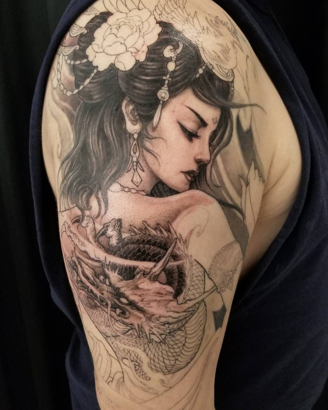David Hoang On Instagram Back To Back Tiger Tattoo: Geisha In Progress #chronicink #asianink#tattoo#irezumi