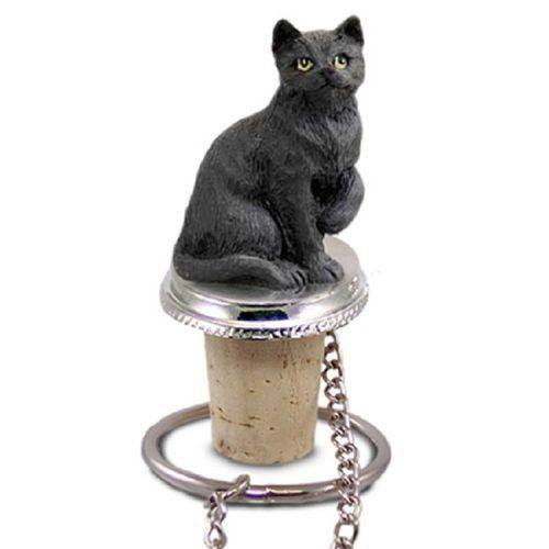 Shorthaired Black Cat Bottle Stopper
