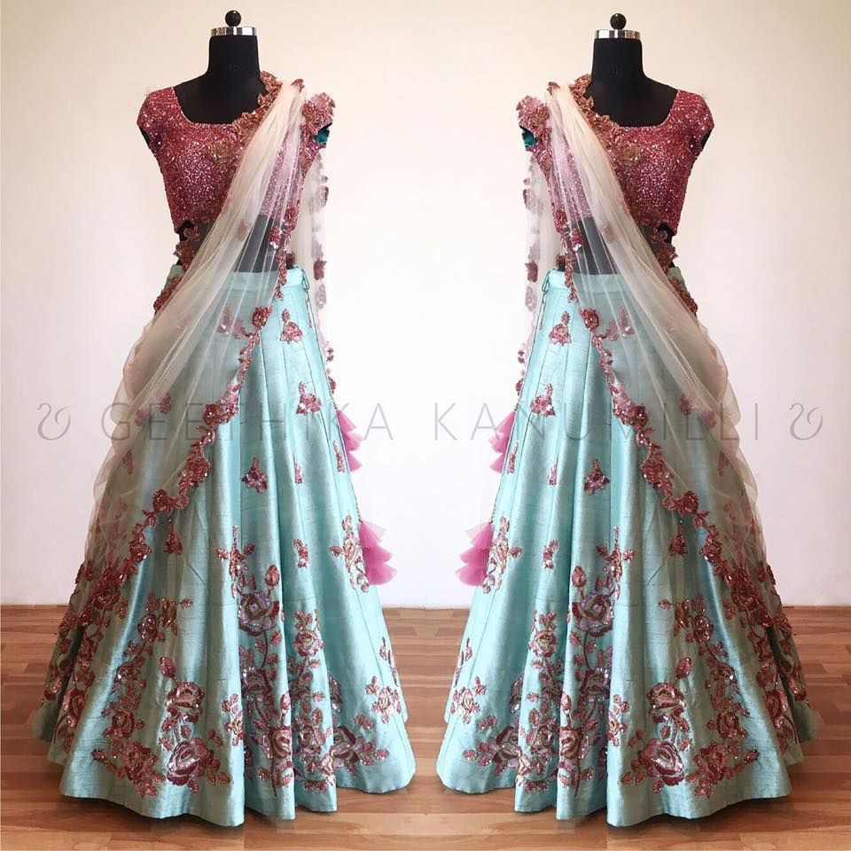Beautiful ice blue color lehenga and pink color designer blouse with ...