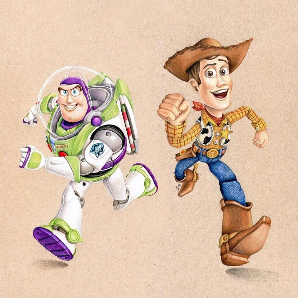 Buzz Lightyear Woody Drawing By Juliannamaston Instagram Toystory Disney Paintings Disney Sketches Animated Drawings