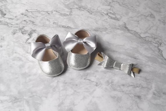 b82b14bec649 Silver Flower Girl Shoes for ages NB to 24M