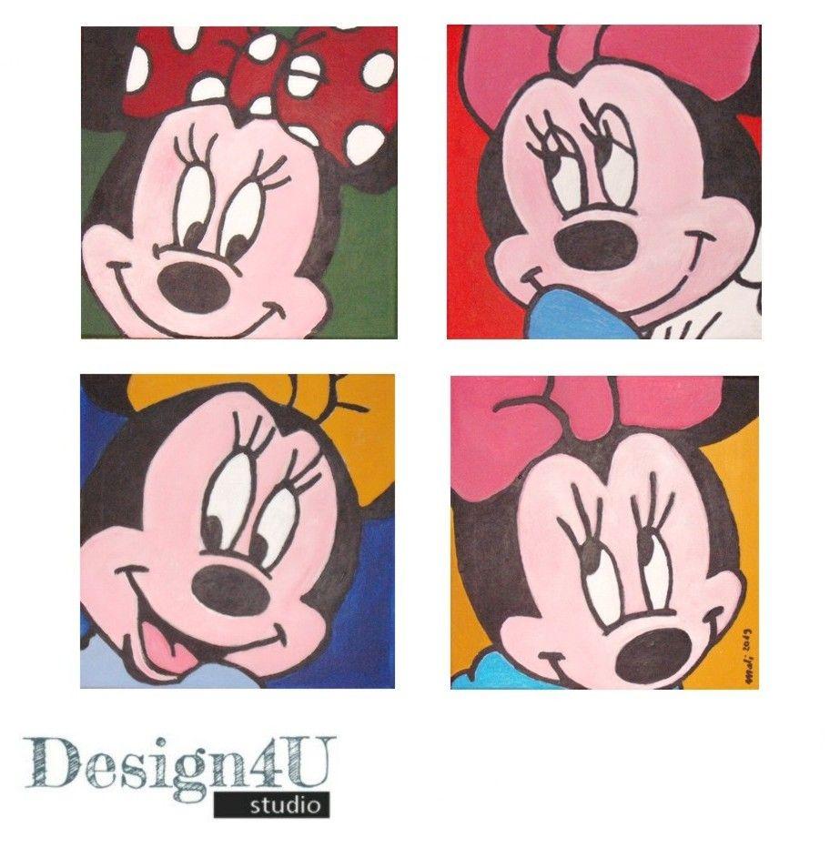 4er Pop Art Gemälde Mickey Minnie Mouse Mickey Mickey Maus Und Freunde Pop Art