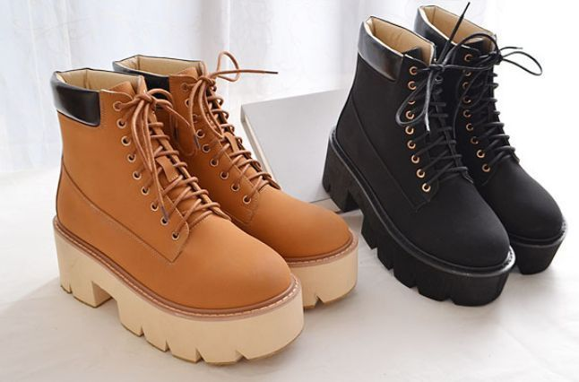 Women'S Korean Style Muffin Shoes Creepers Boots Platform Chunky High Heel Size
