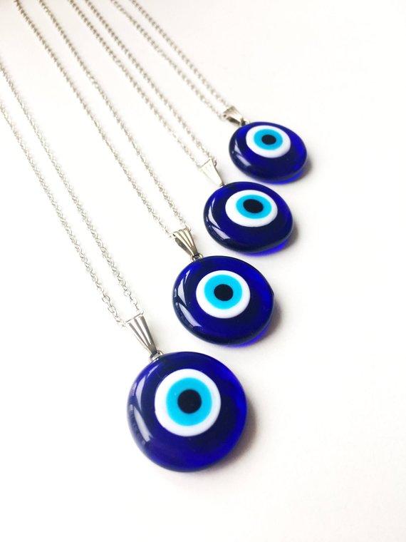 Evil Eye Necklace Blue Evil Eye Bead Evil Eye Charm Etsy In 2020 Evil Eye Pendant Eye Necklace Evil Eye Necklace