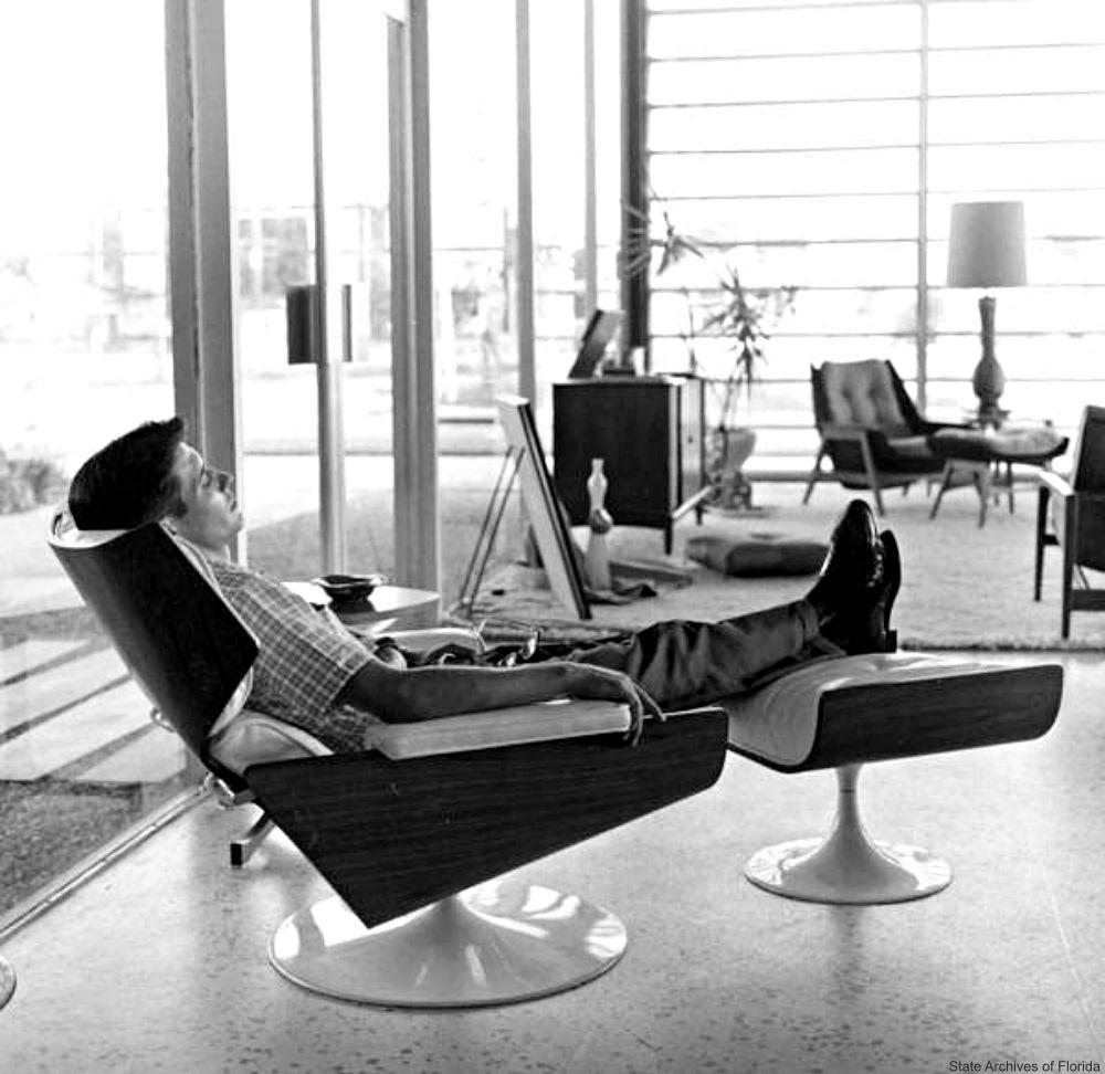 Mid Century Modern Tulip Chair And Ottoman
