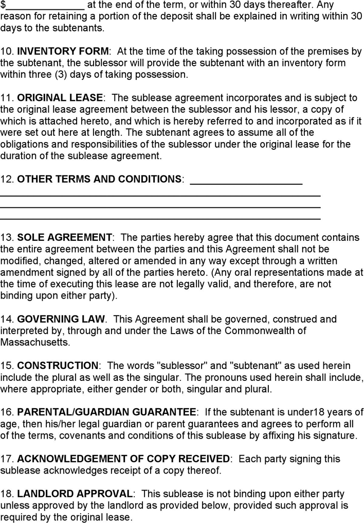 Massachusetts Sublease Agreement Form Download Free Printable Legal Rent And Lease Template Form In Different Editable Formats Legal Forms Templates In Writing