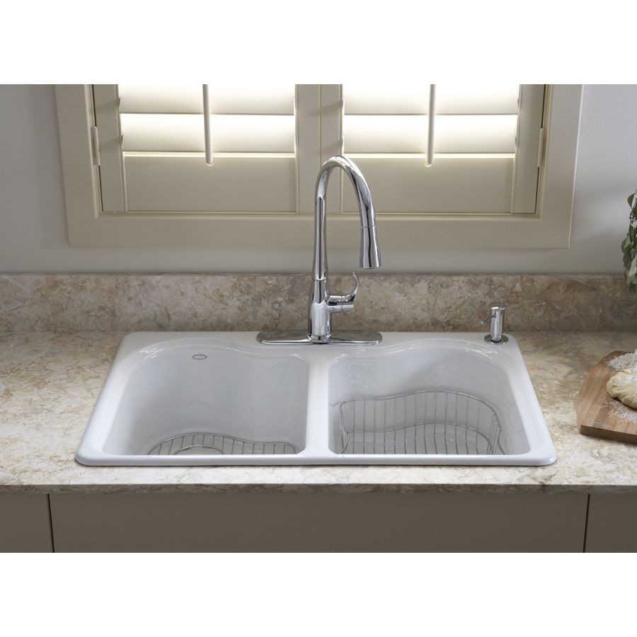 Kohler Cast Iron Kitchen Sink Floor Ideas Shop Hartland 22 In X 33 White Double Basin Drop 4 Hole Commercial At Lowes Com