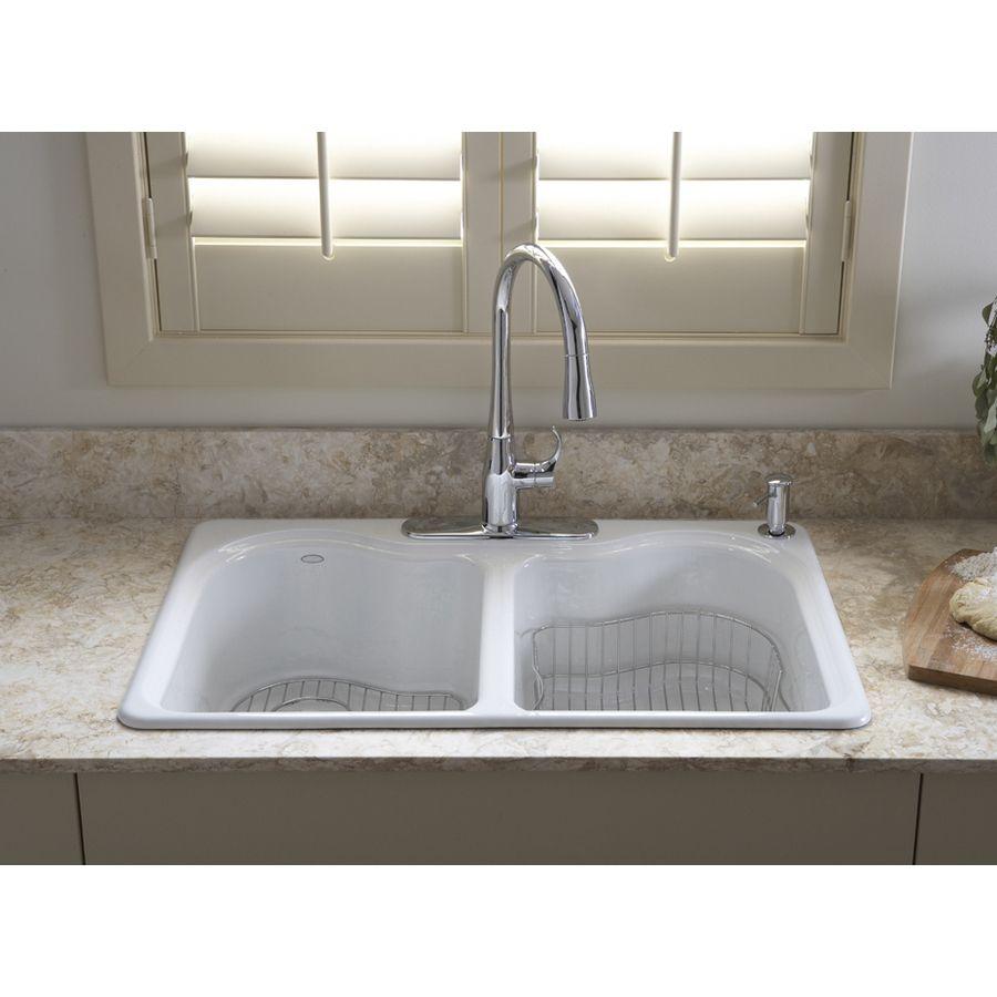 Kitchen Enchanting Kohler Farmhouse Sink For Your Modern: Shop KOHLER Hartland 22-in X 33-in White Double-Basin Cast