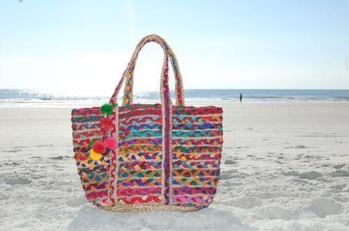 AMERICA & BEYOND Multi Rainbow Hand Woven Beach Bag