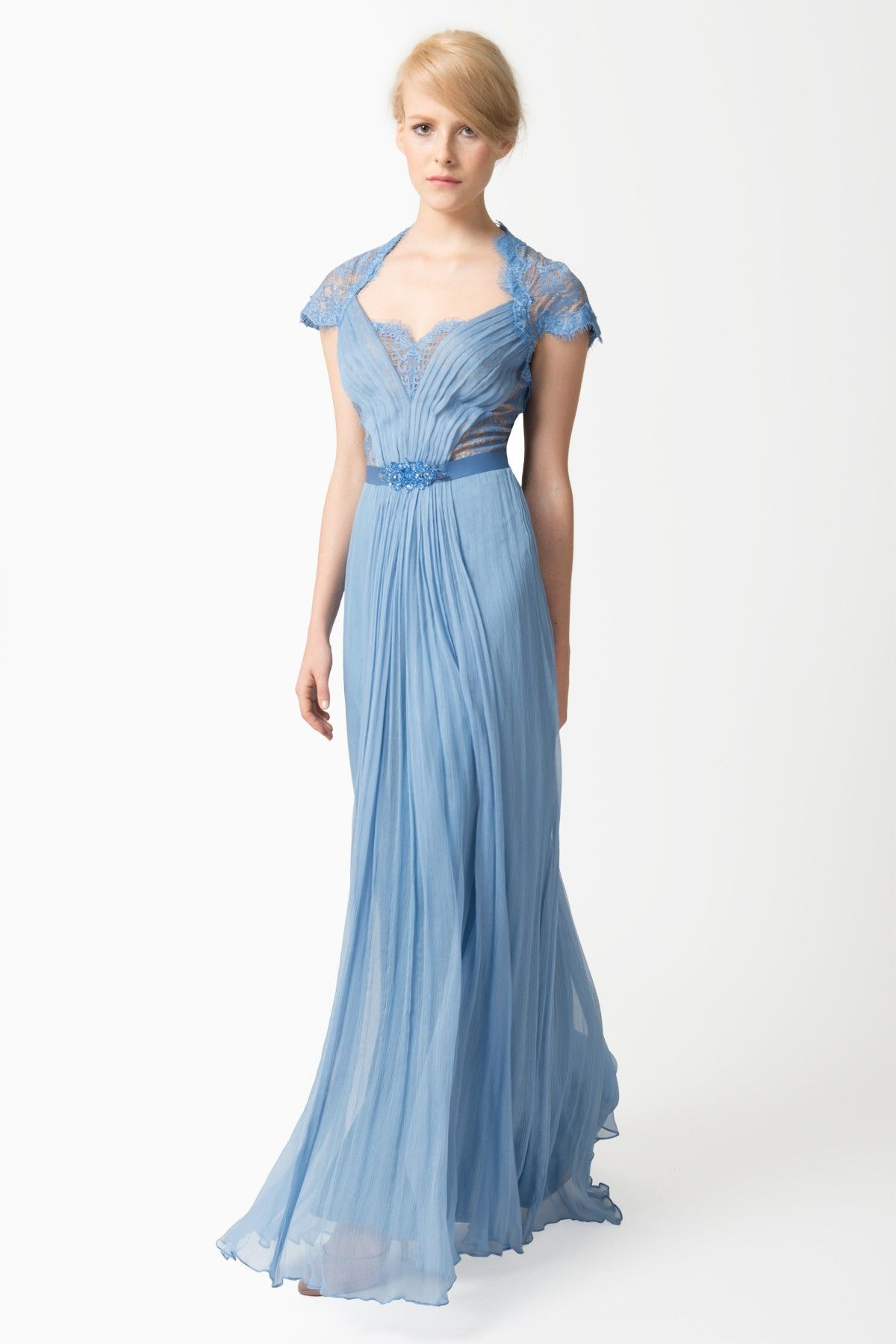 Crinkle Chiffon and Lace Gown with Jeweled Belt in Blue Stone ...