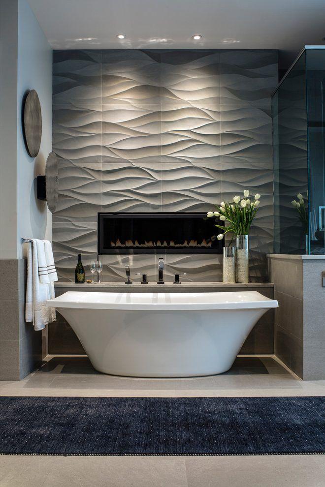Image result for contemporary fireplace bathroom Bath  Shower
