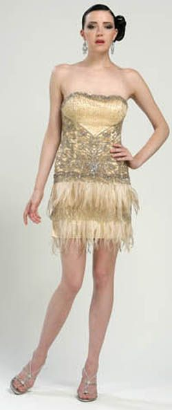 SALE! Sue Wong Strapless Gold Feather and Beaded Flapper Dress-Sz. 0 ...