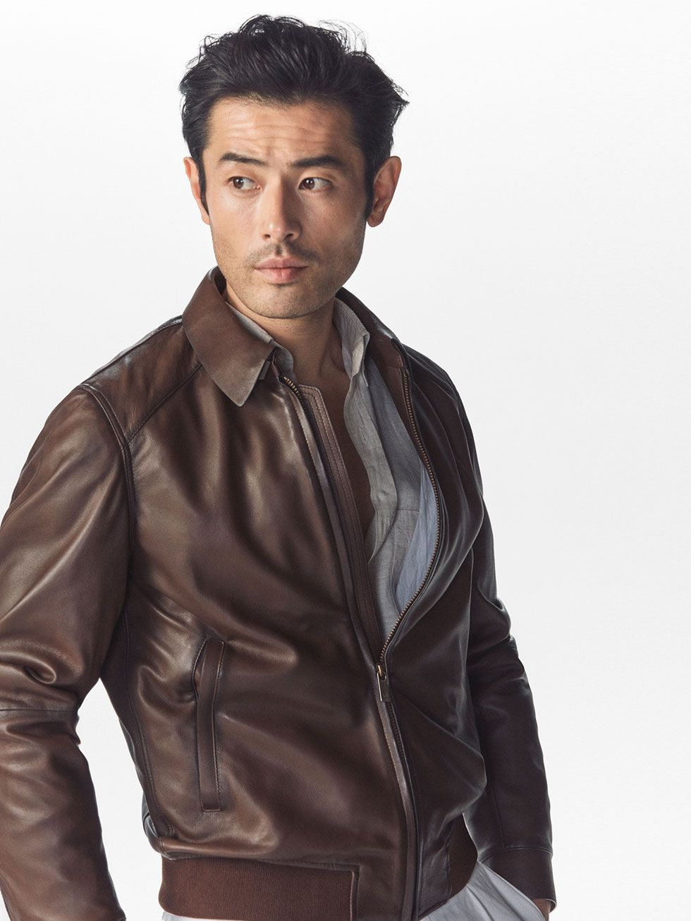 Spring summer 2017 Men´s BROWN NAPPA LEATHER JACKET at