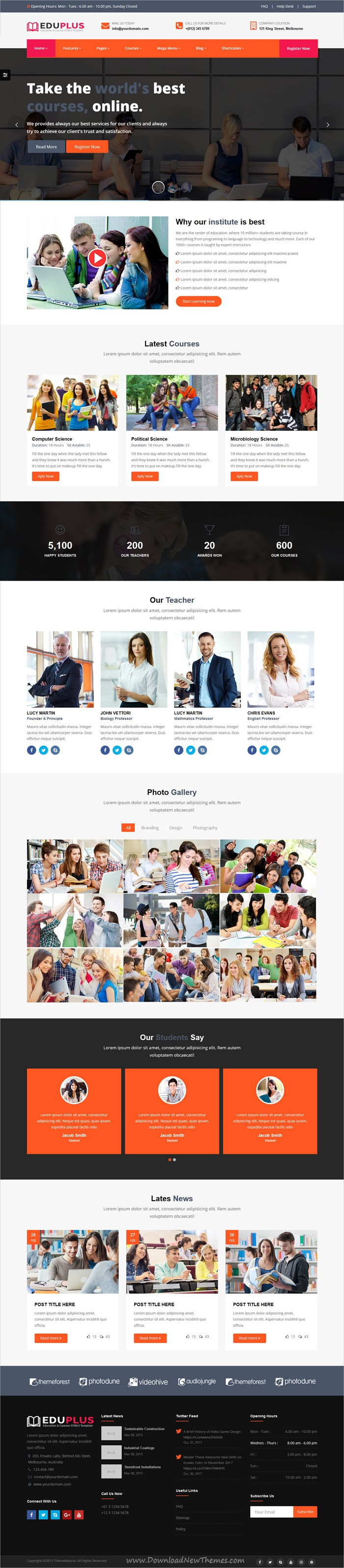 Education Plus Is Clean And Modern Design Responsive Html5 Template For Lms Training Center Course Hub College School And Kinder Education Templates Education Web Design