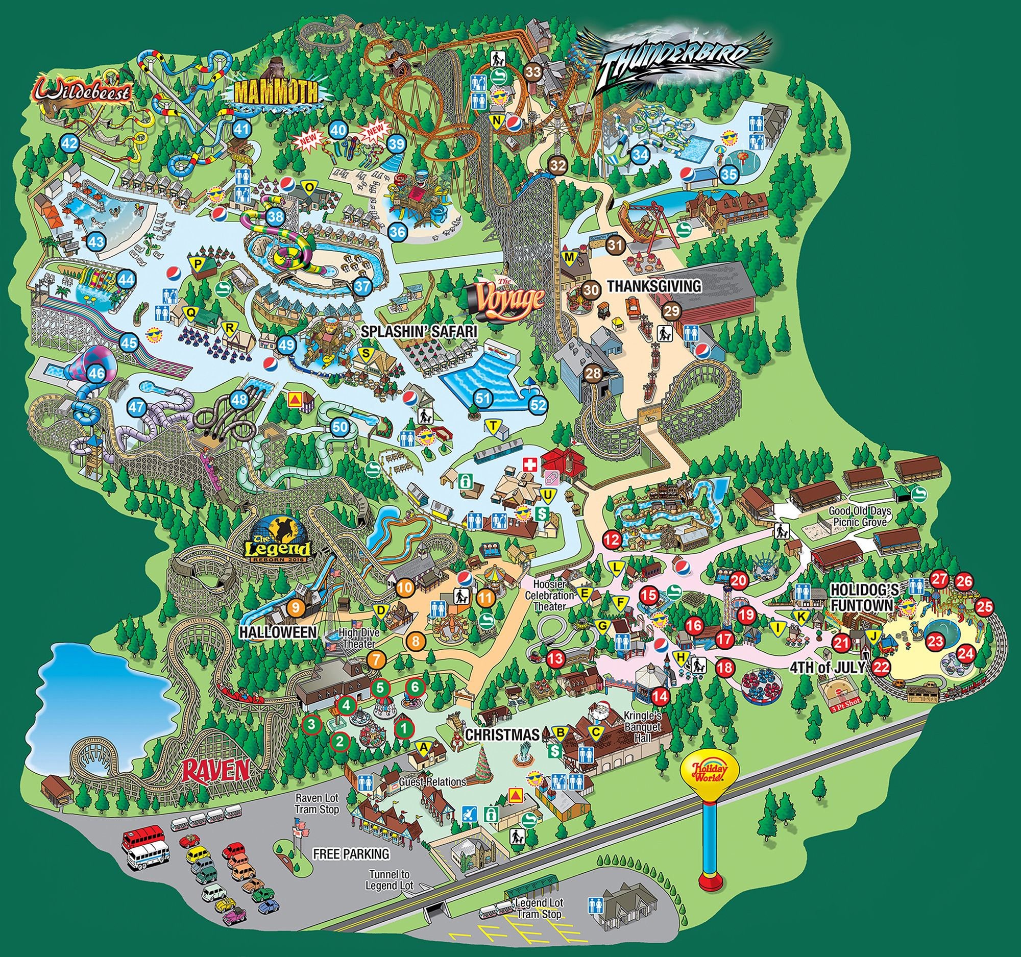 Holiday World Map Splashin' Safari Park Map | kids | Holiday world, Park, Splash