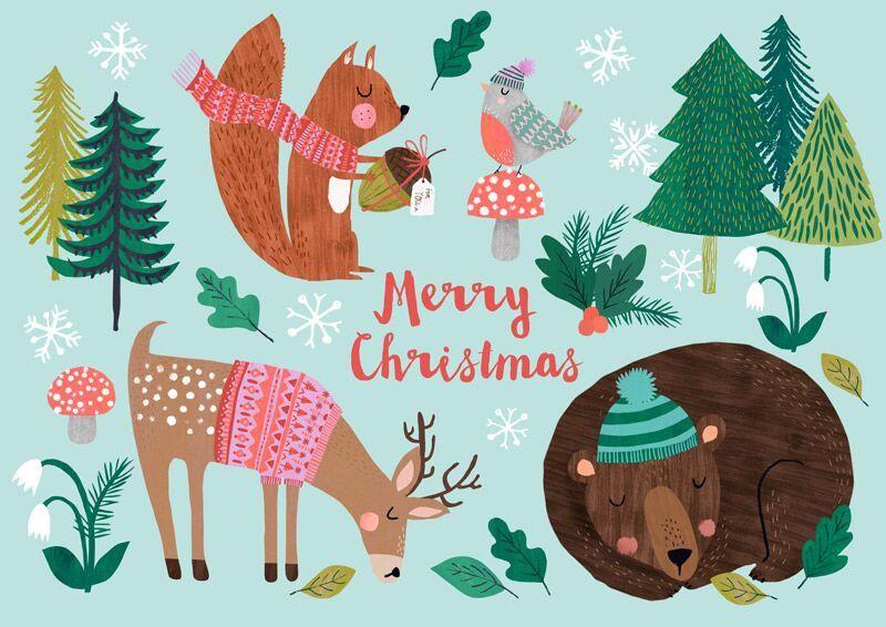 een kerstkaart zoals wij ze graag zien met allerlei grappige kerstplaatjes en dieren. Black Bedroom Furniture Sets. Home Design Ideas
