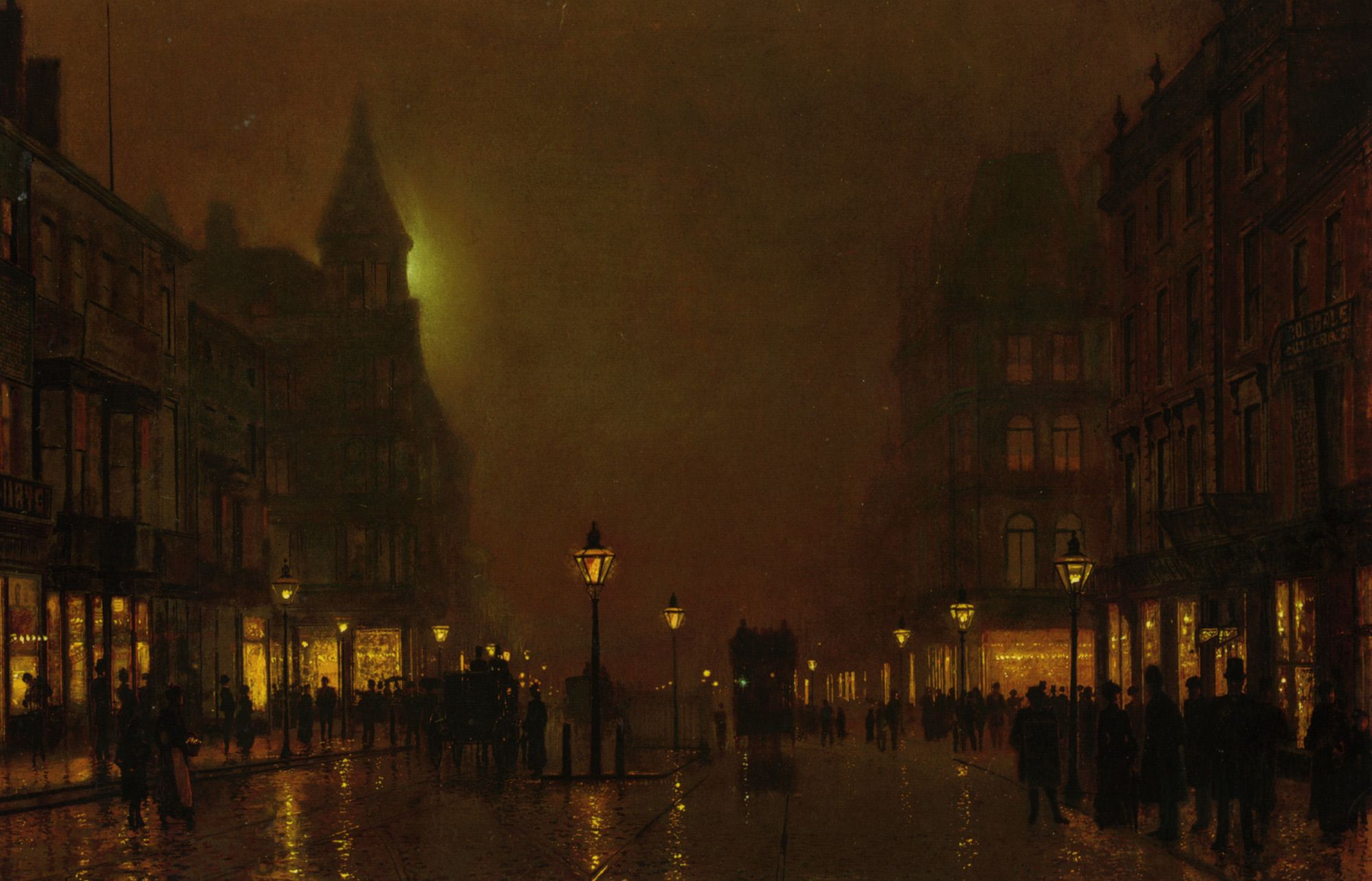 Victorian night lamps - John Atkinson Grimshaw Briggate Leeds Tags Victorian Art Gothic Painting