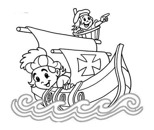 12 De Octubre De 1492 Descubrimiento De America Para Colorear Dia De La Hispanidad Las Carabelas De Colon Cristobal Colon Para Ninos
