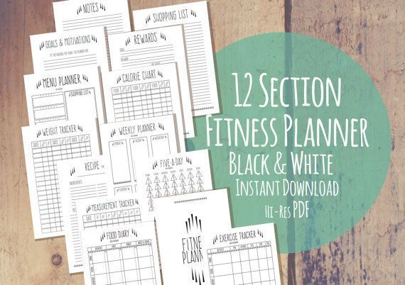 Printable Fitness Planner  Quirky Black White  12 Part  Diet Exercise & Weigh - #black #Diet #Exerci...