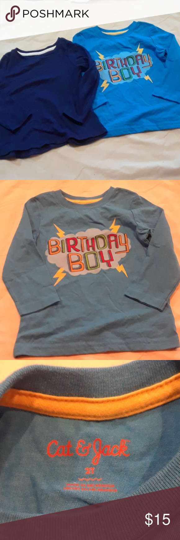 Boys Birthday Boy Shirt Navy 2T Both New Without Tags Size Box 3 Cat Jack Shirts Tops Tees