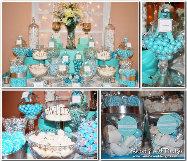 Tiffany Blue Wedding Decoration Ideas: Tiffany Blue Theme Wedding Candy & Dessert Buffet