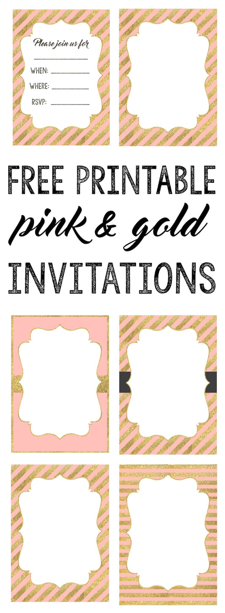 Pink And Gold Invitations Free Printable Select A Pink In 2020 Pink And Gold Invitations Free Printable Birthday Invitations Bridal Shower Invitations Printable Free