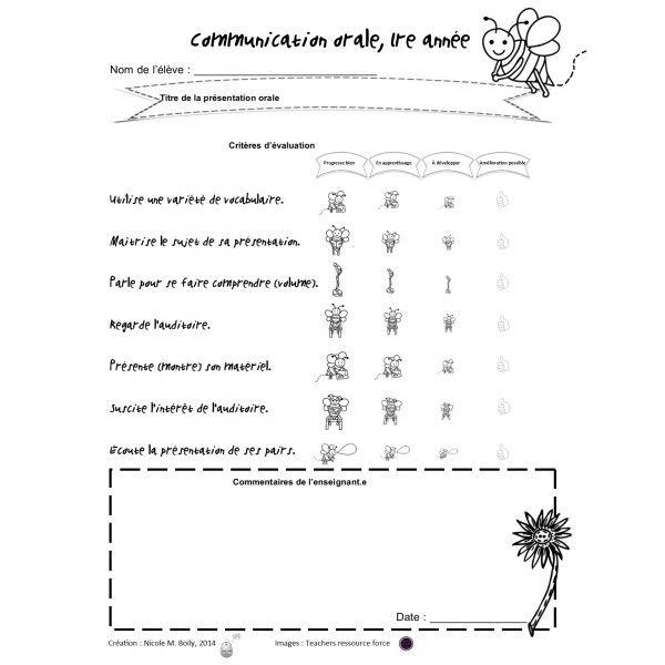 Grille du0027évaluation communication orale Apprendre la lecture