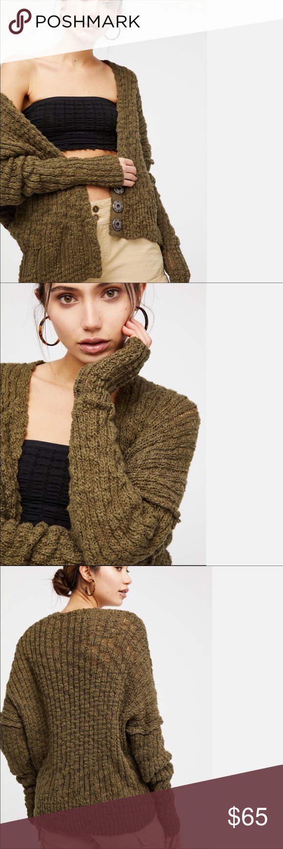 9be9e377cc3 Free People Fun Time Cardigan in Moss Fabric: Loose knit Dropped shoulder  seams Waist-length style V neck Long sleeves Snap at front Shell: 95%  cotton/5% ...