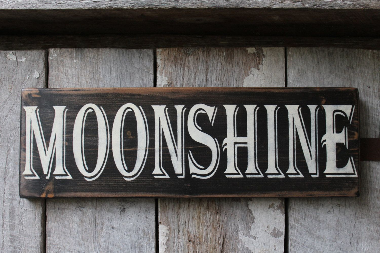 Primitive wood sign moonshine cabin rustic man cave bar decor
