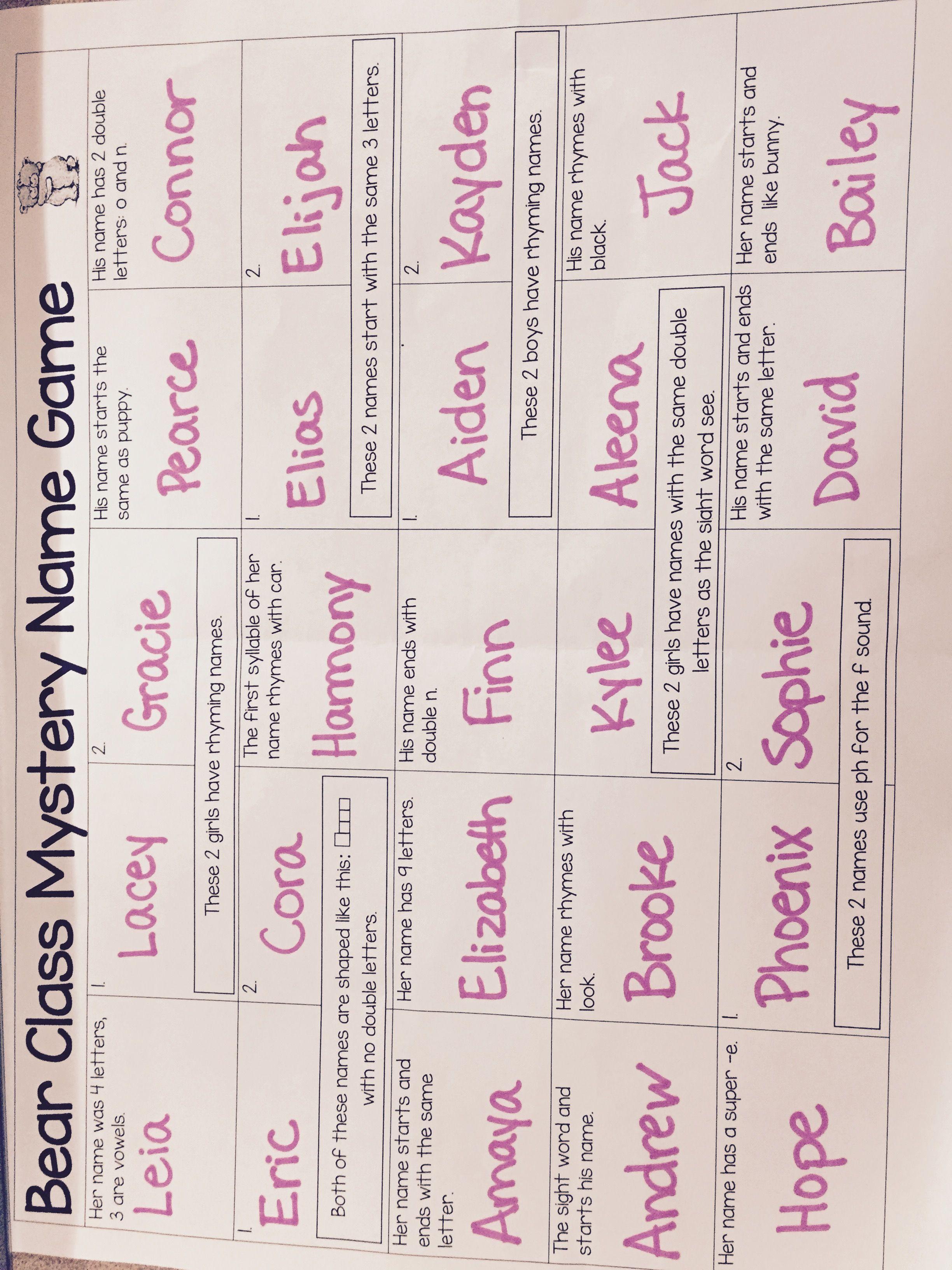 Pin By Mary Kuriga On Kindergarten Names