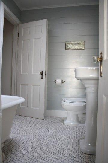 Touring A Beach Cottage Shiplap Bathroom Bathroom Floor Tiles