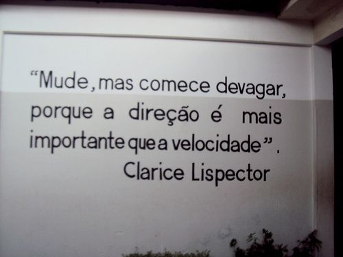 """Translate: """"Change, but start slowly, because the direction is more important than speed"""""""