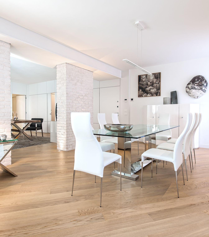 Brando concept interior design arredamento minimale bianco muro mattoni a vista open space - Arredamento sala da pranzo moderna ...